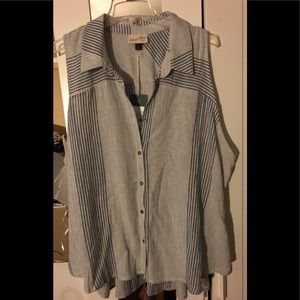 NWT blue and off white button down swing top